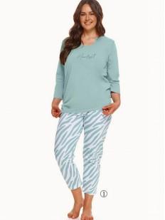 Женская пижама больших размеров с принтованными брюками