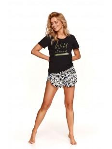Женская летняя пижама из хлопка с леопардовыми шортами и футболкой