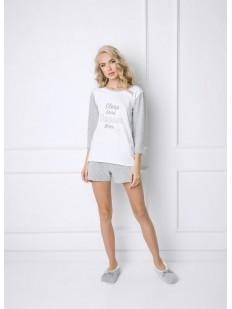 Женская хлопковая пижама с шортами и футболкой лонгслив
