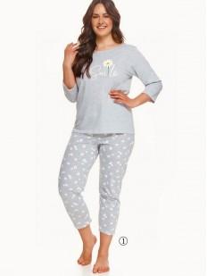 Женская хлопковая пижама большого размера с принтом ромашки