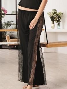 Женские домашние кружевные черные брюки