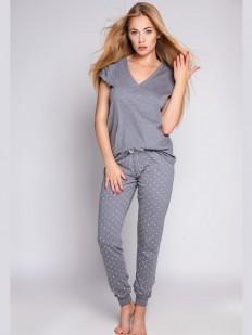 Серая женская пижама со штанами и футболкой из хлопка