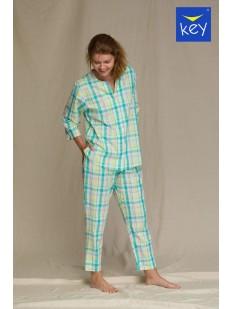 Женская бирюзовая пижама с брюками и рубашкой в клетку