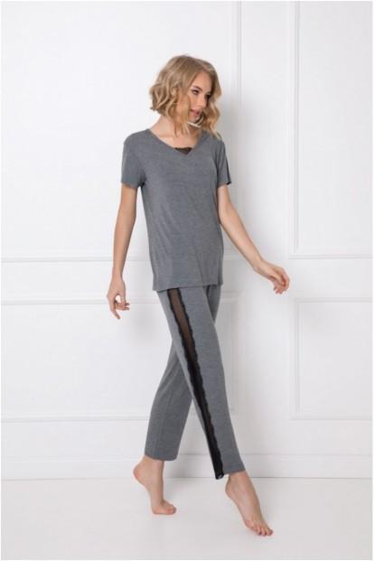 Серая женская пижама из вискозы с брюками Aruelle CAMILLA - фото 1