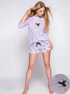 Сиреневая женская пижама с принтованными шортами и кофтой из хлопка