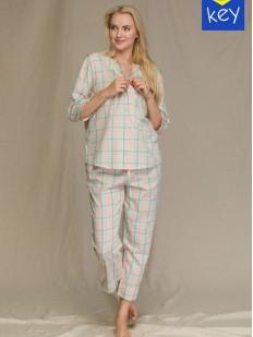 Женская бежевая пижама с брюками и рубашкой в клетку