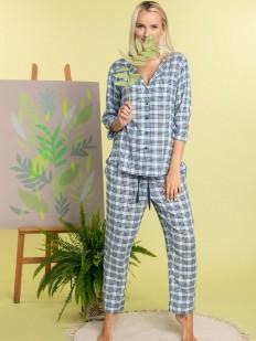 Женский домашний трикотажный комплект в клетку с брюками и рубашкой