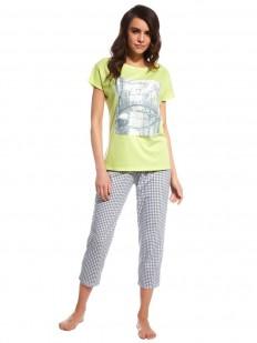 Хлопковая женская пижама с укороченными штанами в клетку