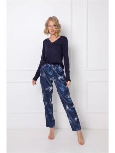Женская пижама с принтованными брюками сапфирового цвета