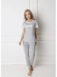 Женская серая хлопковая пижама со штанами и футболкой