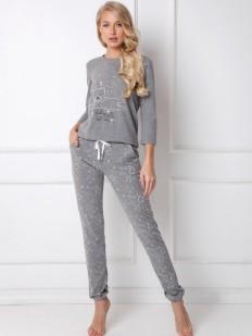 Женский хлопковый пижамный комплект серого цвета со штанами и кофтой