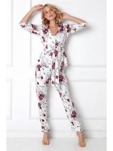 Белый женский домашний комплект с брюками и верхом на пуговицах