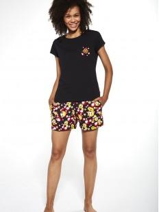 Хлопковая женская принтованная пижама: футболка и шорты со смайликами