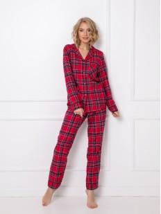 Теплая женская пижама: красные клетчатые брюки и рубашка из хлопка
