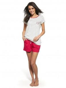 Хлопковая женская пижама в полоску с шортами и футболкой Cornette