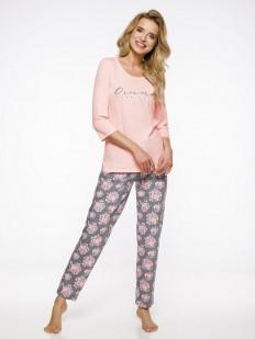Теплая хлопковая женская пижама с брюками принтованными