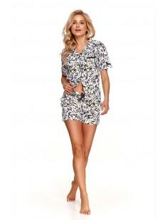 Женская пижама с принтованными шортами и рубашкой на лето