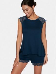 Синяя женская пижама из вискозы с шортами и топом на лето