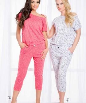 Женский пижамный комплект с принтом из хлопка