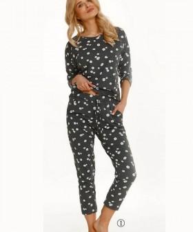 Женский пижамный комплект с ромашками: штаны и кофта из хлопка