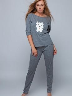 Хлопковая женская теплая пижама с собачкой серая
