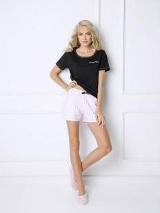 Хлопковая женская пижама с шортами в полоску