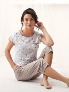 Хлопковая женская пижама из футболки с бриджами