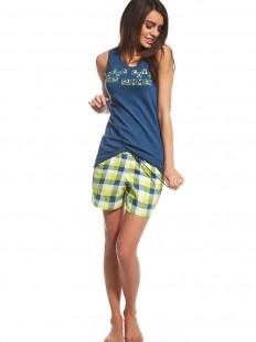 Хлопковая женская пижама с яркими шортами в клетку