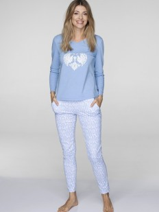 Хлопковая женская голубая пижама со штанами KEY LNS 19/20