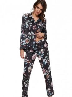 Женская пижама со штанами и рубашкой с цветочным принтом
