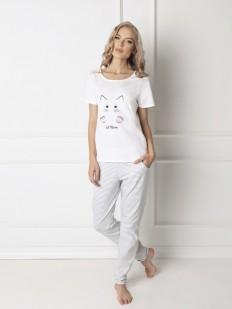 Хлопковая женская пижама со штанами с котиком ARUELLE Catwoman white