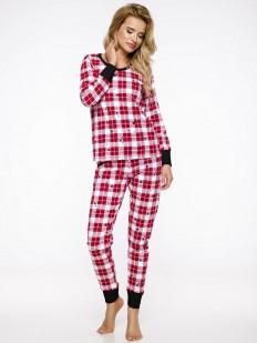 Теплая женская хлопковая клетчатая пижама со штанами