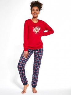Хлопковая женская пижама с рождественским оленем и брюками в клетку