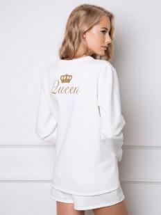 Хлопковая теплая пижама для женщин с шортами и вышивкой на спине ARUELLE Crown set