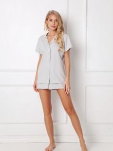 Летняя женская хлопковая пижама с шортами и рубашкой на пуговицах