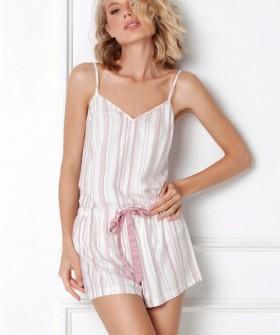 Трикотажная летняя женская пижама в полоску с шортами и топом