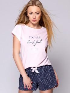 Женская летняя хлопковая пижама с шортами и сердечками