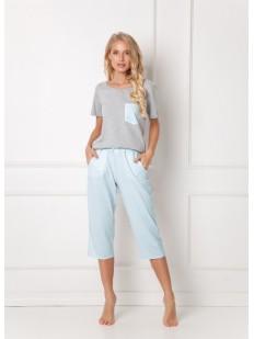 Женская хлопковая летняя пижама с голубыми бриджами и футболкой