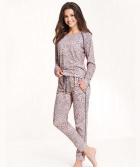 Леопардовая женская пижама со штанами и кофтой из хлопка