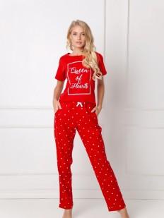 Красная хлопковая женская пижама со штанами
