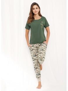 Хлопковая женская пижама с брюками в стиле милитари