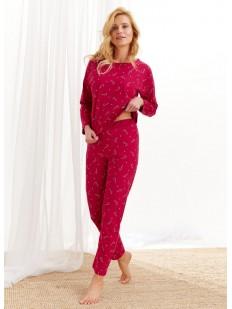 Женская рождественская пижама со штанами и кофтой из хлопка