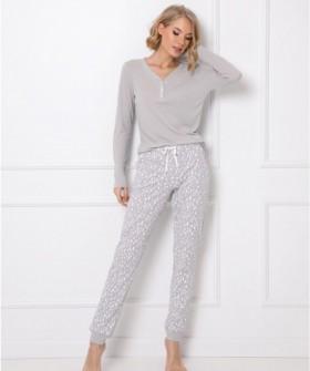 Теплый пижамный комплект: брюки и кофта серого цвета