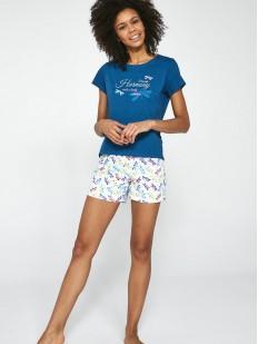 Летняя женская пижама со стрекозами: шорты и футболка из хлопка