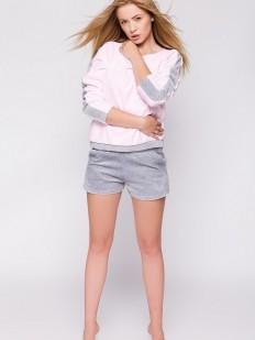 Уютная женская велюровая пижама с шортами из хлопка
