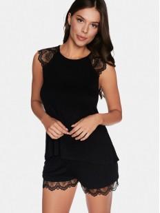 Черная женская пижама из вискозы с шортами и топом на лето
