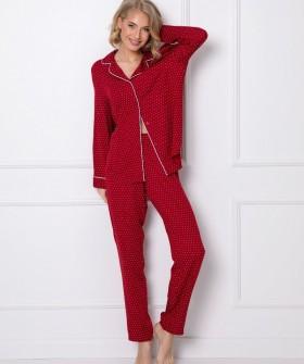 Брючный пижамный комплект красного цвета с принтом в белую точку