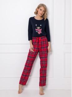 Теплый женский пижамный комплект из хлопка: клетчатые брюки и кофта с мишкой