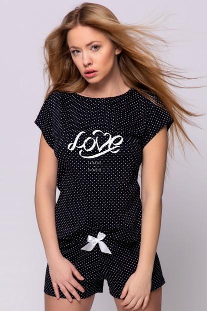 Черная женская пижама с шортами Sensis CLEMENTINE