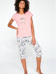 Хлопковая женская пижама с цветочными бриджами и футболкой